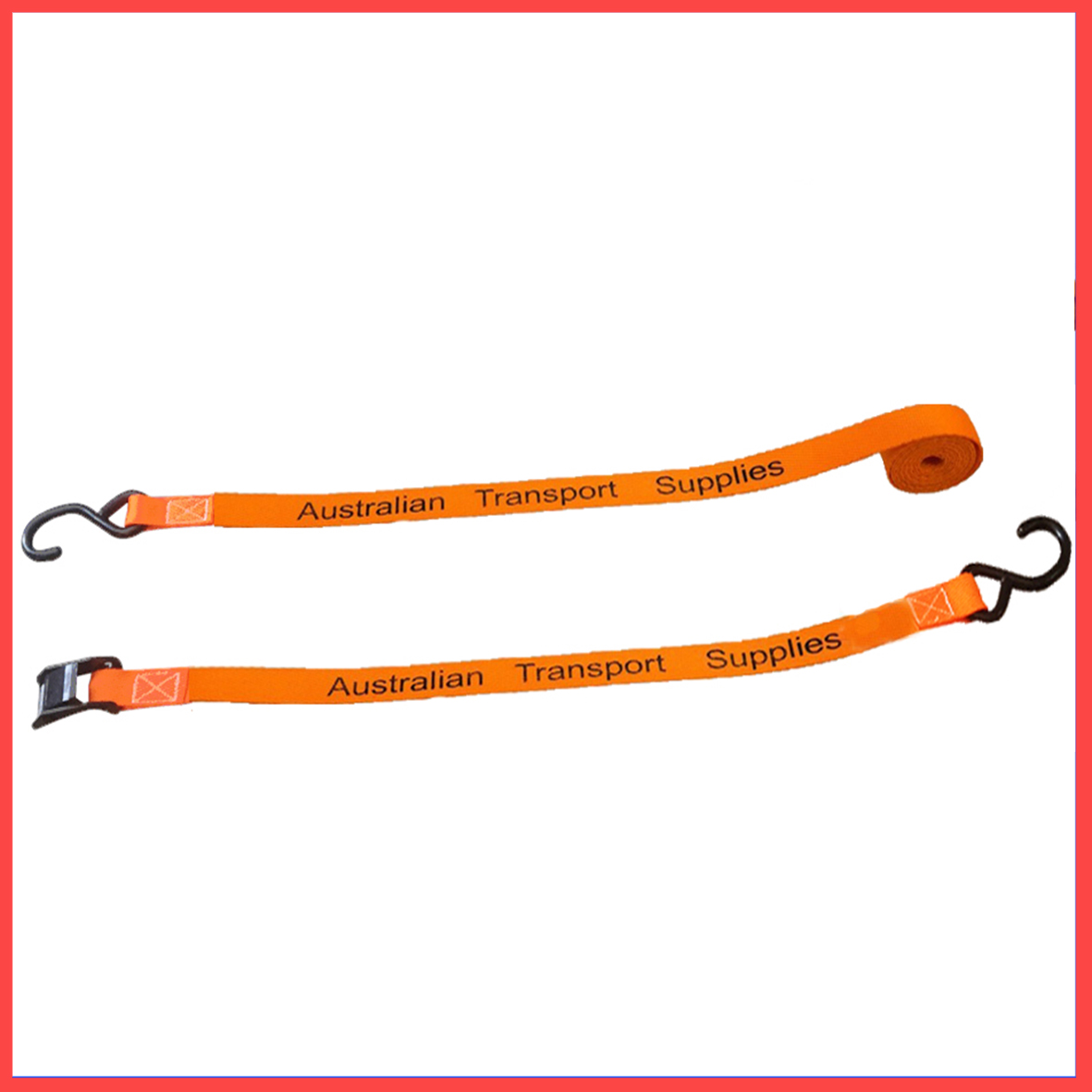 25MM X 3M X 250KG Cam Buckle Tie Down with Ratchet S Hooks